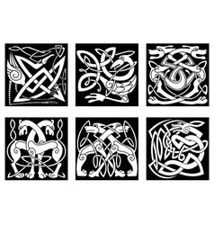 Celtic animals decorated irish ornament vector image