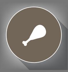 Chicken leg sign white icon on brown vector