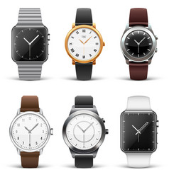 Classic watches isolated on white set vector