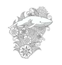 Coloring page with whale in flowers and leafs vector