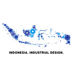 Composition indonesia map of gears vector