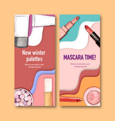 Cosmetic flyer design with lipstick concealer vector
