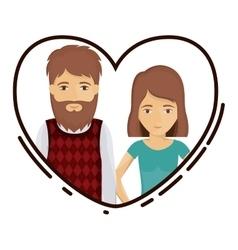 Couple cartoon inside heart design vector