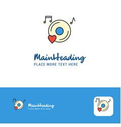 creative music disk logo design flat color logo vector image