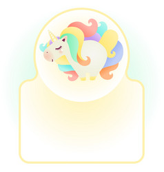 Cute cartoon unicorn character with colorful hair vector