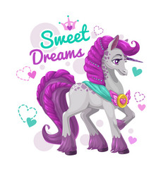 cute girlish print with beautiful unicorn vector image