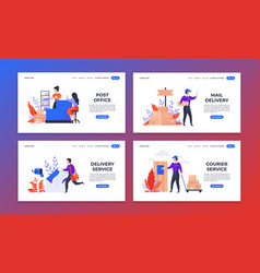 Delivery landing page shipping and mail service vector