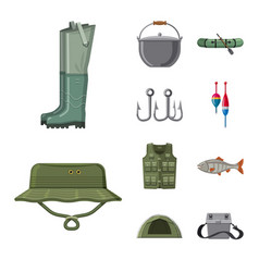 design of fish and fishing icon set of vector image