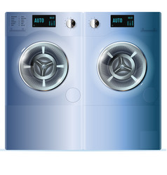 Double washing machine front view of blue steel vector