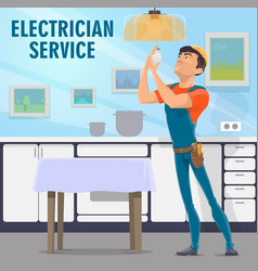 Electrician service poster with handyman and bulb vector