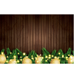fir branch with golden christmas balls and neon vector image