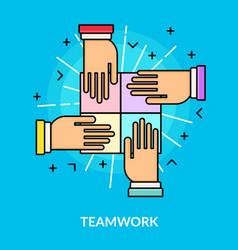 flat teamwork and partnership concept vector image