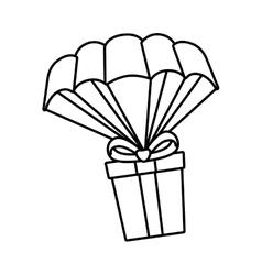 Giftbox present flying icon vector