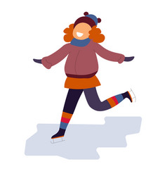 girl skating on ice rink wearing red color clothes vector image