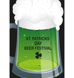 Glass mug of green beer vector image