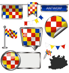 Glossy icons with flag of antwerp belgium vector
