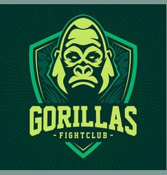gorilla mascot emblem design vector image