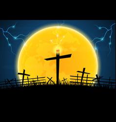 Halloween graveyard cross thunderbolt vector