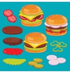 Hamburger and cheesburger ingredients Set vector image