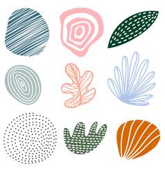 hand drawn set various abstract shapes and vector image