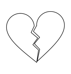 Heart broken sad separation outline vector