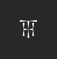Hipster initials th logo mockup from triangles vector