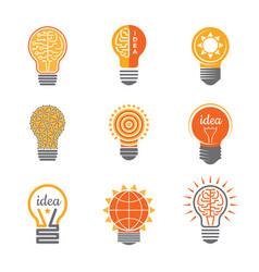 ideas lamp logo electronics light energy bulb vector image