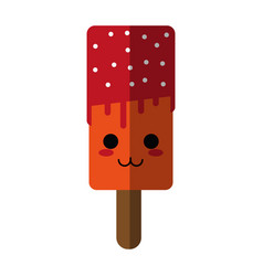 Kawaii ice cream with sprinkles icon image vector