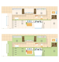 Kitchen overlooking the front in a flat layout vector image