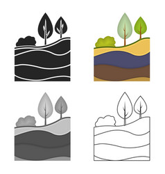 Layers of the earth icon in cartoon style isolated vector