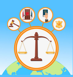 legal process symbols flat vector image