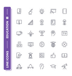 Line icons set education 1 vector