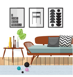 Living room woodle furniture vector