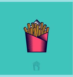 logo french fries fried potato fast food bisro vector image