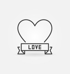 love heart concept minimal icon in outline vector image