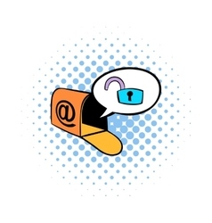 Mailbox with padlock icon comics style vector image