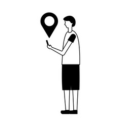Man holding mobile pointer location vector