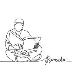 Man in fez reading koran vector