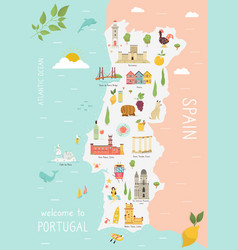 Map portugal with icons cities vector