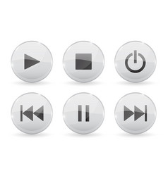 media glass buttons white audio or video shiny 3d vector image