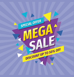 Mega sale discount up to 50 percent off vector