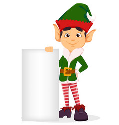 Merry christmas and happy new year elf standing vector