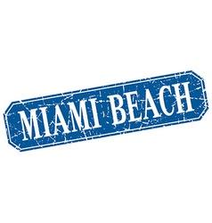 Miami beach blue square grunge retro style sign vector
