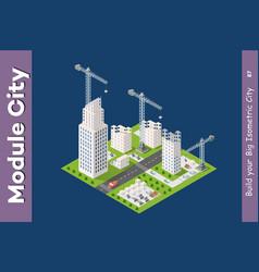 Module isometric city houses vector