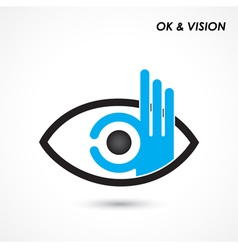 Ok hand with eye sign vector image