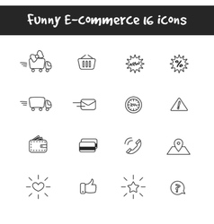 Outline black and white 16 e-commerce icons vector