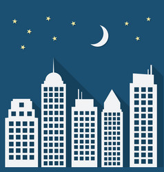 paper urban night landscape with long shadows vector image