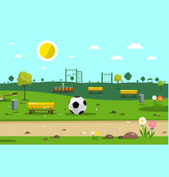 park with football ball vector image