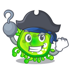 Pirate character microbe bacterium on the palm vector