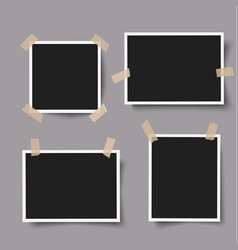 realistic photo frames with adhesive tape vector image